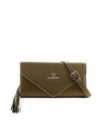 Valentino By Mario Valentino Odette Leather Envelope Clutch Bag Army Green