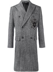 Dolce And Gabbana Double Breasted Tweed Coat Grey