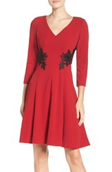 London Times Women's Lace Applique Fit And Flare Dress