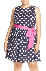 Plus Size Women's Eliza J Polka Dot Fit And Flare Dress