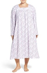 Eileen West Plus Size Women's Print Long Sleeve Cotton Nightgown