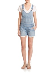 Paige Rikki Raw Edge Short Denim Overalls Serena