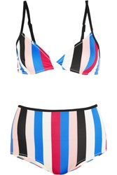 Solid And Striped The Belle And Bridget Striped Triangle Bikini Red
