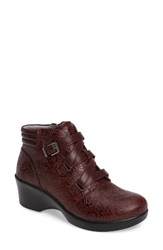 Alegria Women's Indi Demi Wedge Bootie Oxblood Bloom Leather