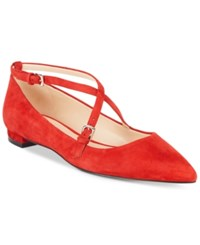 Nine West Anastagia Strappy Pointed Toe Flats Women's Shoes Red