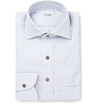 Drakes Striped Slub Cotton Shirt Blue