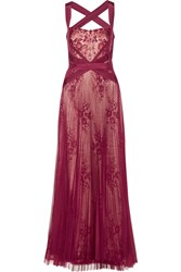 Mikael Aghal Lace Paneled Tulle Gown