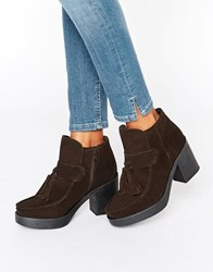 Asos Rex Suede Tassel Ankle Boots Brown Suede