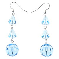 Alice Joseph Vintage Art Deco Silver Faceted Crystal Drop Earrings Light Blue