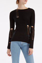 R 13 R13 Women S Shredded Cashmere Jumper Boutique1 Black