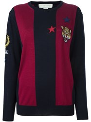 Stella Mccartney Cat Patch Rugby Jumper Blue