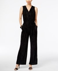 Ny Collection Metallic Crinkled Jumpsuit Onyx Black