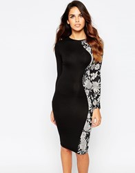 Club L Midi Dress With Floral Side Panel Black