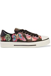Valentino Embroidered Appliqued Canvas And Leather Sneakers Green