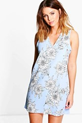 Boohoo Floral Plunge Sleeveless Shift Dress Pastel Blue