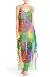 Women's Charlie Jade Palm Print Silk Maxi Dress