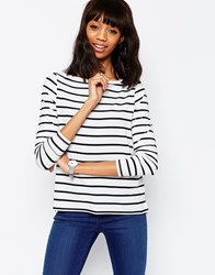 Asos T Shirt In Stripe With Boat Neck And Longsleeves White