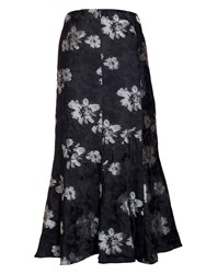 Chesca Plus Size Floral Jacquard Skirt Black