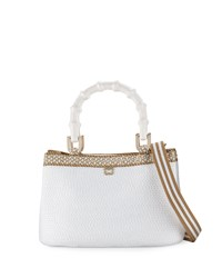 Leila Bamboo Handle Tote Bag White Eric Javits