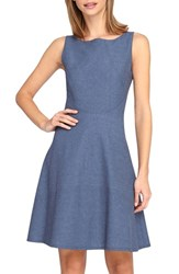 Petite Women's Tahari Chambray Fit And Flare Dress