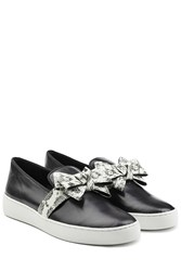 Michael Kors Collection Slip On Leather Sneakers With Bow Black