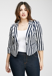 Forever 21 Striped One Button Blazer Navy Cream