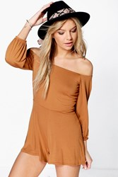 Boohoo Off The Shoulder Jersey Playsuit Tan
