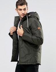 Jack And Jones Hooded Parka With Fleece Lining Khaki Green