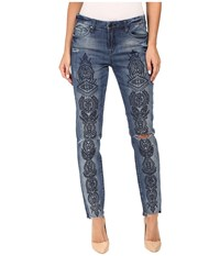 Blank Nyc Denim Embroidered Skinny In Tiffany Blew Blue Women's Jeans
