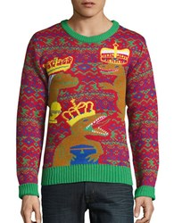 American Stitch Three Kings Dinosaur Ugly Christmas Sweater Red