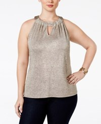 Inc International Concepts Plus Size Keyhole Halter Top Only At Macy's Gold