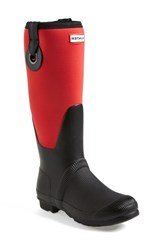 Women's Hunter 'Original Scuba' Eyelet Waterproof Rain Boot Bright Coral Black