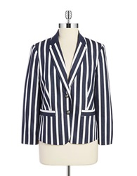 Jones New York Striped Blazer Navy White