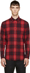 Dsquared Red And Navy Wool Plaid Relax Dan Shirt