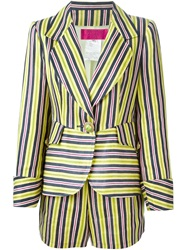 Christian Lacroix Vintage Striped Shorts Suit Yellow And Orange