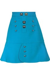Peter Pilotto Tessel Embellished Wool Crepe Mini Skirt Light Blue