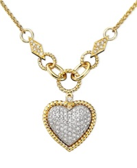 Effy Collection D'oro By Effy Diamond Pave Diamond Heart Pendant 3 4 Ct. T.W. In 14K Gold And 14K White Gold