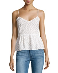 Plenty By Tracy Reese Flower Embroidered Peplum Tank Top White