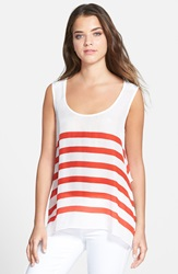 Plenty By Tracy Reese Back Tie Tank White Cherry