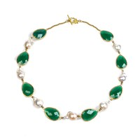 Latelita London Hydra Baroque Pearl And Stone Necklace Gold Green Onyx Gold Green