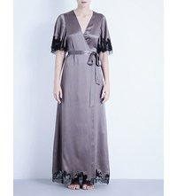 Carine Gilson Full Length Lace And Silk Satin Kimono Robe Glycine Black