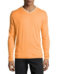 Robert Graham Cashmere Blend Contrast Trim Sweater Orange