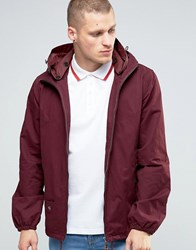 Pretty Green Jacket With Hood In Burgundy Burgun Red