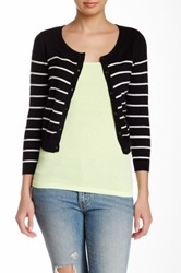 Wild Pearl Scoop Neck Cropped And Striped Cardigan Juniors Black