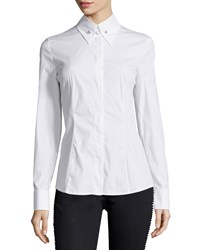 Escada French Cuff Long Sleeve Blouse White