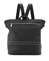 Neiman Marcus Studded Faux Leather Convertible Backpack Black