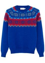 Moncler Blue Fair Isle Mohair Blend Jumper Blue And Other