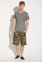 Forever 21 Alternative Apparel Victory Camo Sweatshorts Olive Brown