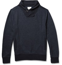 Billy Reid Shawl Collar Cotton Blend Sweatshirt Blue