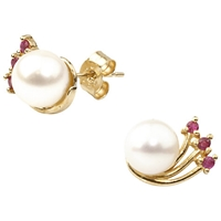 A B Davis 9Ct Yellow Gold Cultured Pearl Earrings Ruby